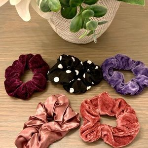 5 Scrunchies - Mauve/ Polka Dot/ Purple